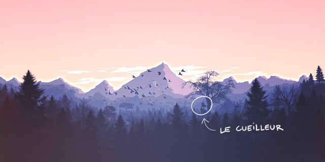 Illustration pour le cueilleur : métaphore pour partir explorer le monde pour trouver des clients