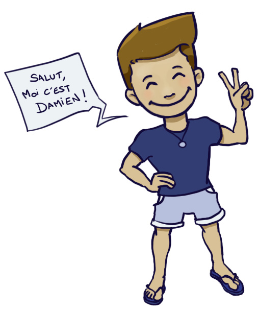 Dessin cartoon de Damien qui dit : Salut, moi c'est Damien !